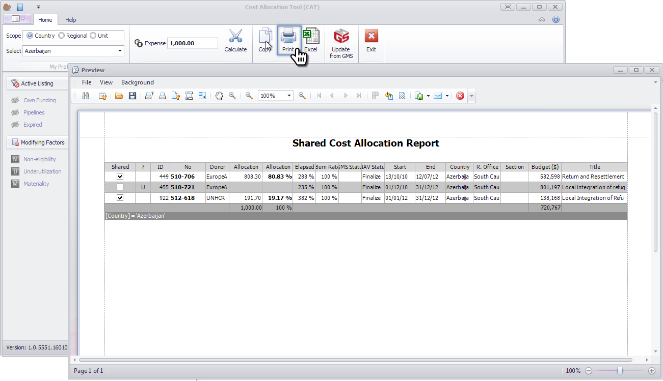 Shared Cost Allocation Report