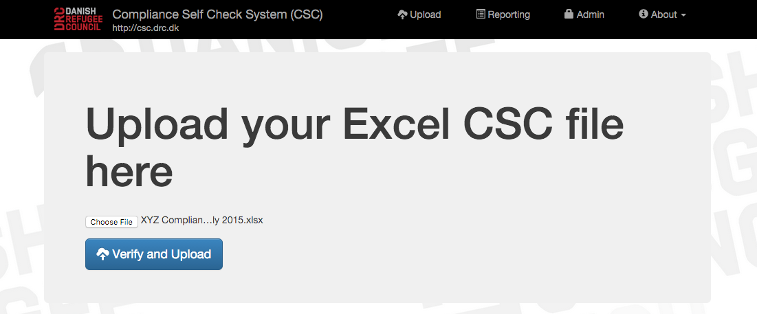 Step 2: Uploading the CSC Excel sheet to the website